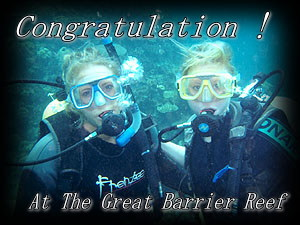Congratulation! New diver and friend at The Great Barrier Reef